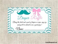 Baby Shower Diaper Raffle Ticket Gender Reveal Mustache